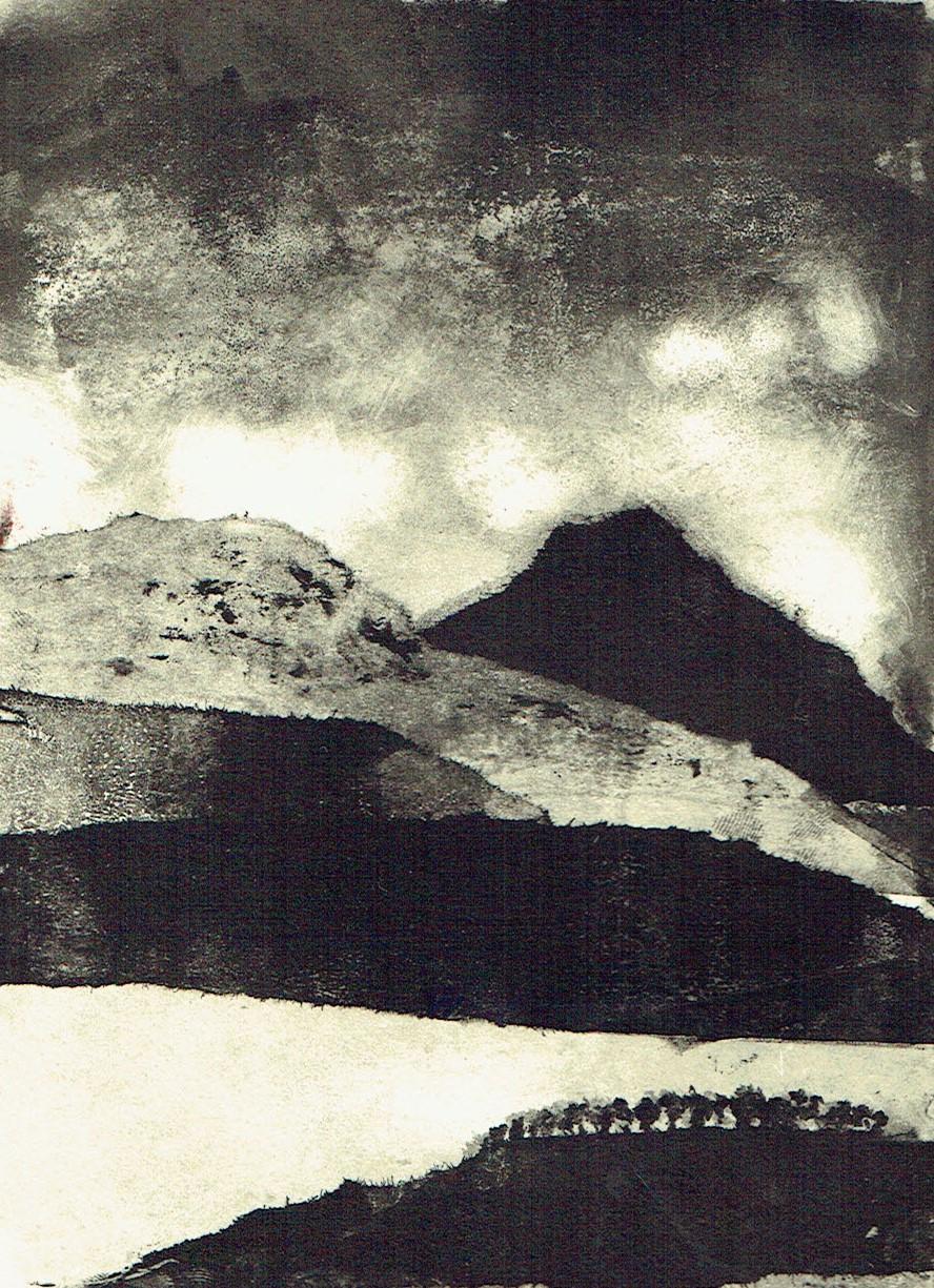 Where Sky Meets Mountain - Monoprint 2017