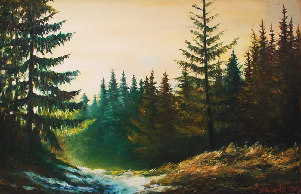 Sunrise in Tornat Wood - Oil on Board 2015