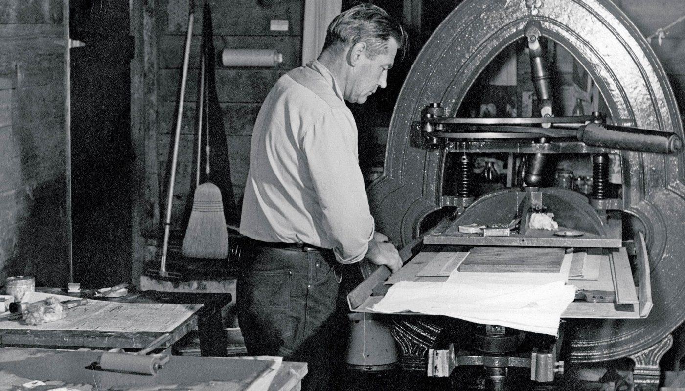 Eino Natti with his Acorn Press