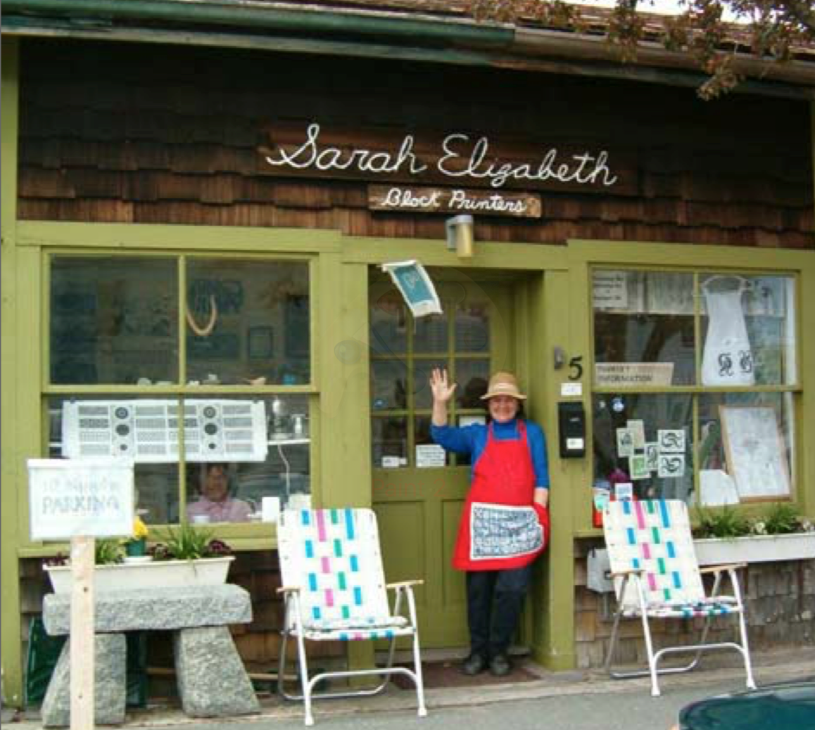 Isabel in front of the Sarah Elizabeth Shop