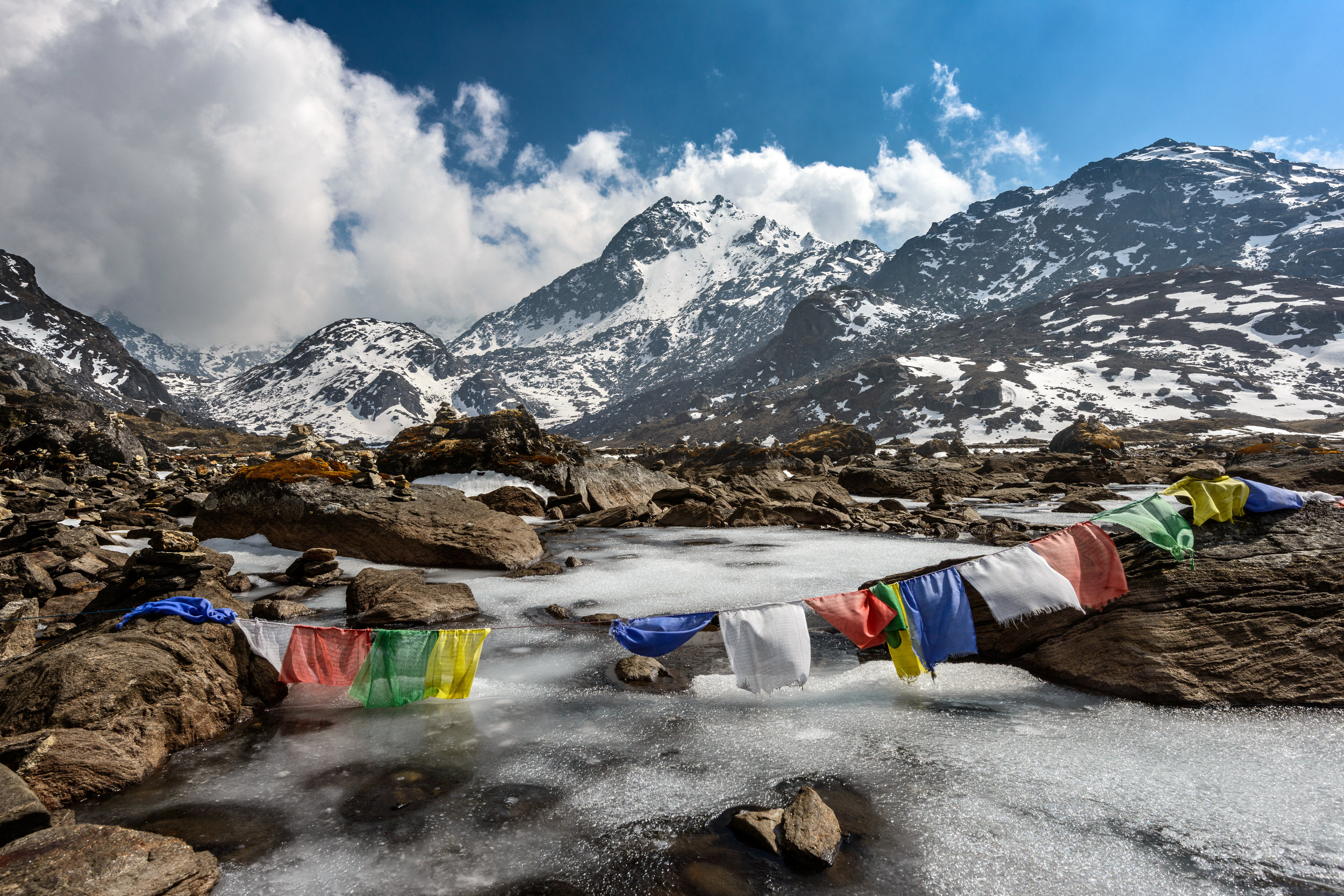 Nepal prayer flags along the trail to Everest Base Camp.