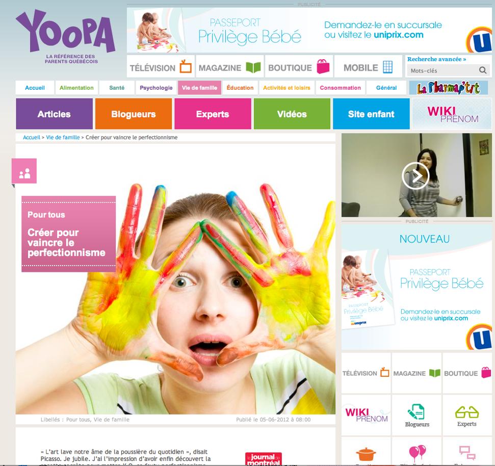 manon lavoie yoopa créer pour vaincre le perfectionnisme