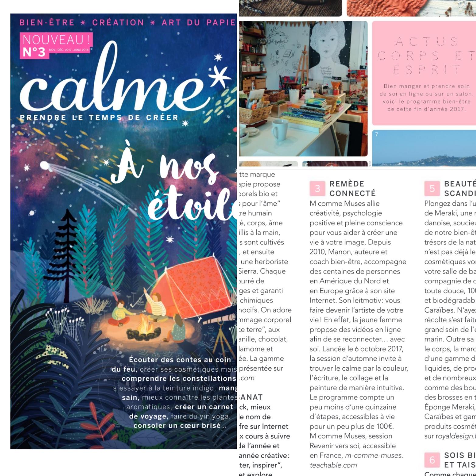 Magazine français Calme fait mention de l'atelier Revenir vers soi de M comme Muses