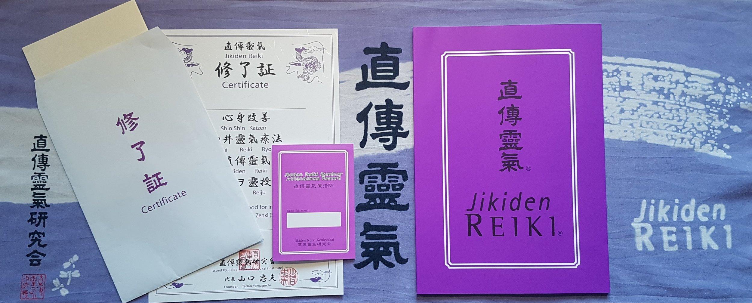 Jikiden Reiki course certificates