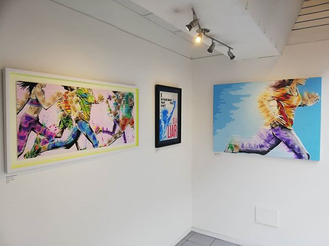 One more day to go till the Private View. Keep On Running @grahamhuntergallery . 25th, 6pm-8pm. 81 Baker Street, London. . . . . . . . . . . . . . . . . . . . . . . #runninglove #runningartwork #runningart #londonexhibition #artexhibition #londonrunners #londonrunningclub #londonartshow #handprinted #runningexhibition #bakerstreet #runtalkrun