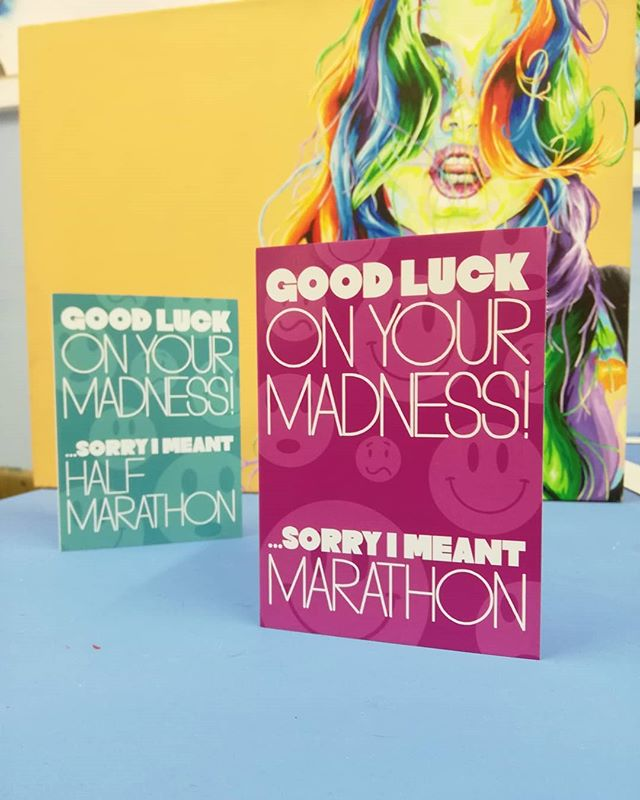 . Good luck to everyone who has a race coming up. . It is an amazing achievement and feeling when you complete a long-distance race, but be honest runners, we are absolutely mad. . Happy Tuesday and happy running! . New greeting cards available on my website, link in profile. . . . . . . . . . . . #runningcards #runninglove #runningcommunity #londonrunners #wimbledon #wandsworthartist #goodluck #goodluckcard #goodluckcards #allaboutrunning #iloverunning #believeyoucan