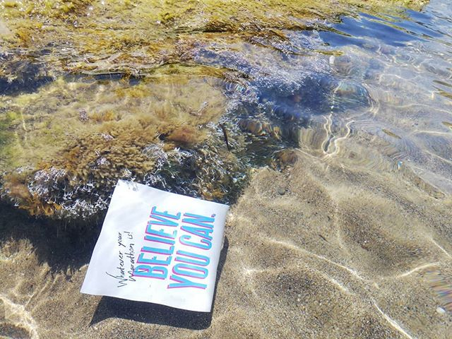 Work never ends for a self-employed person even on holiday, so I have bin doing some shameful promoting on Arkoudillas beach. . . . . . #arkoudillasbeach #promoting #greetingcards #inspiringquotes #inspirationalcards #believeyoucan #believe #corfu #workonholiday