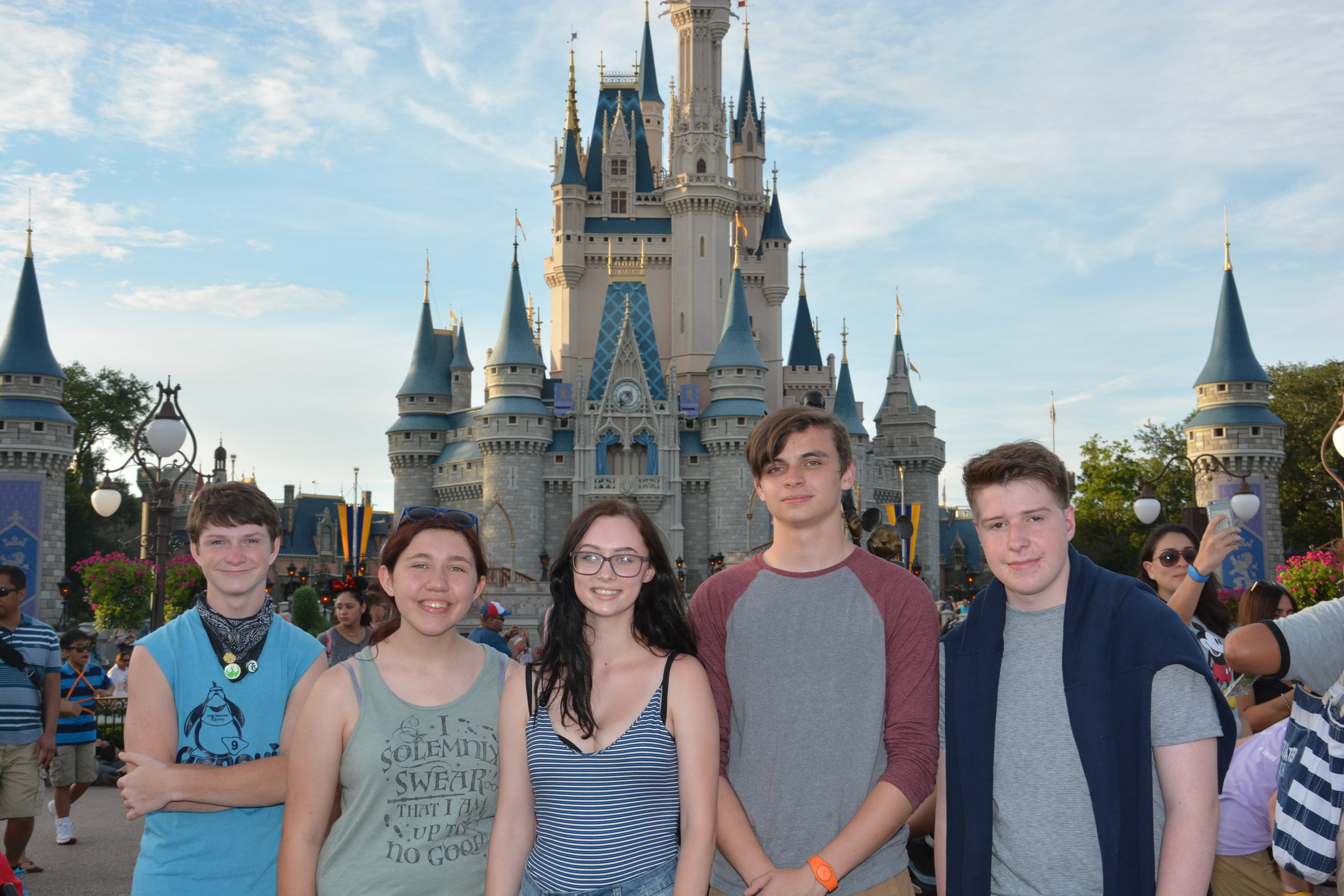 Band students Karsten, Maddison, Josie, Michael & Spencer in front of the Castle