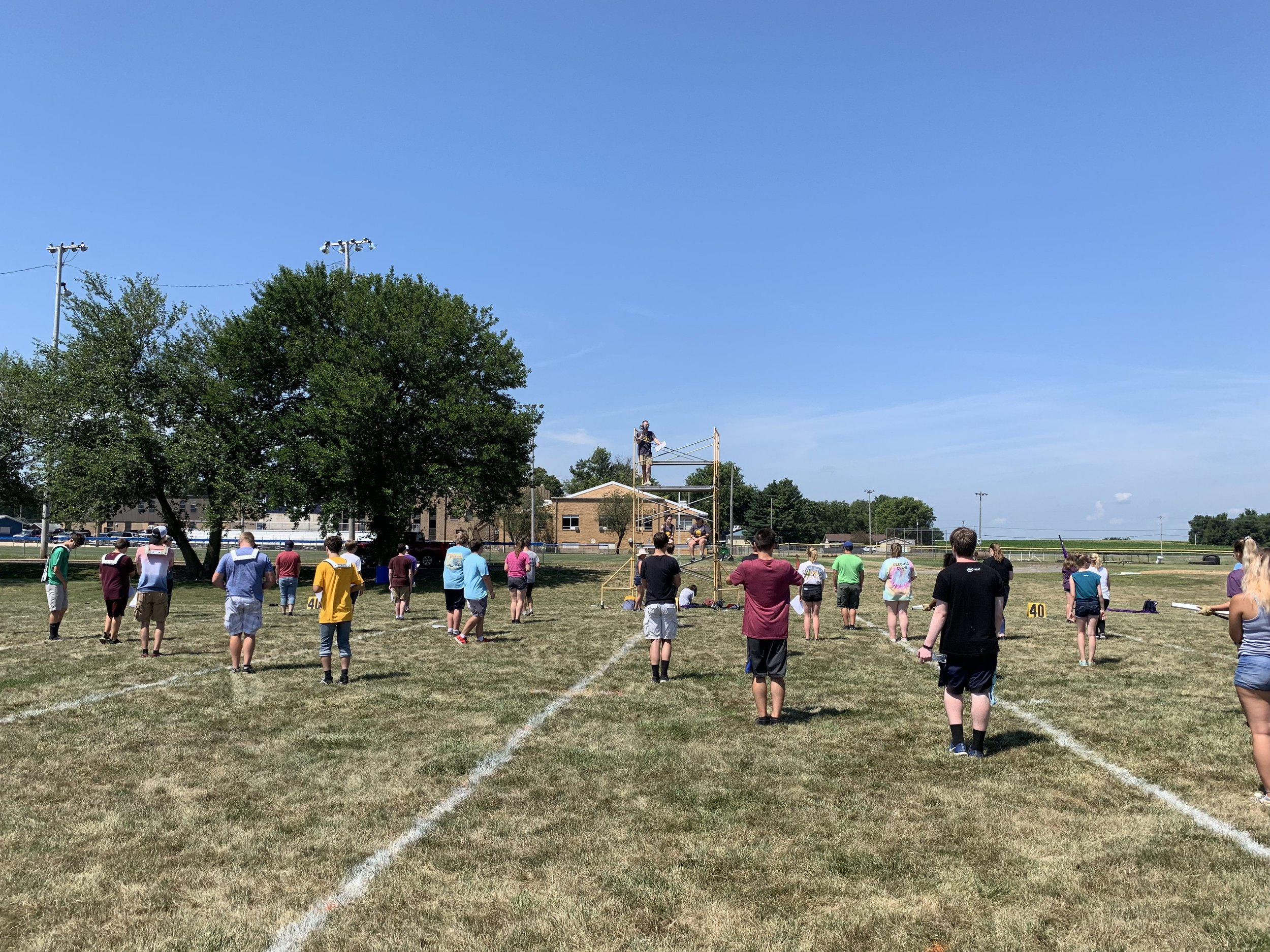 Band students learn their spots on the field.