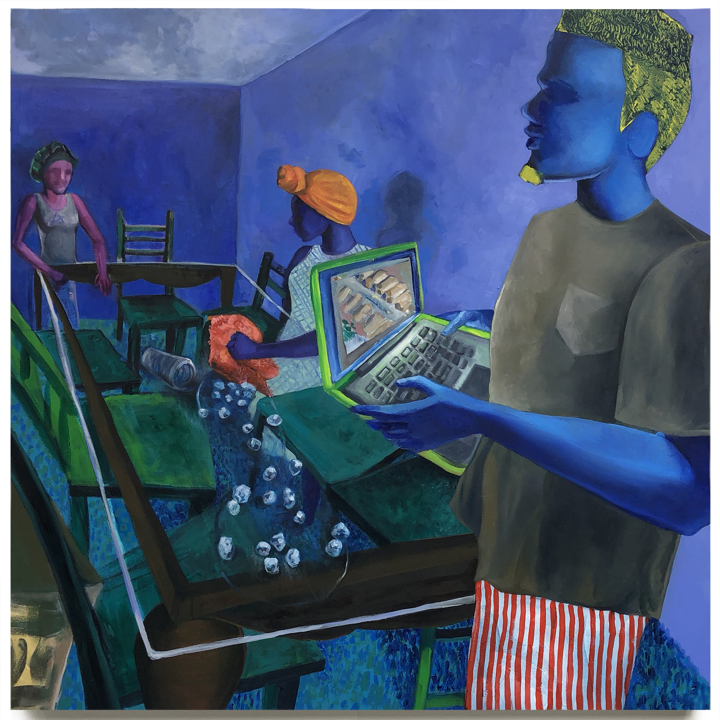 "Scissors. Oil On Canvas. 48"" x 48"". 2018"