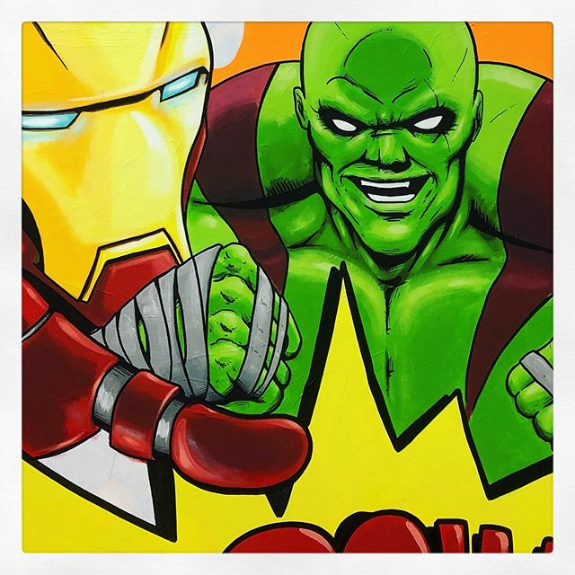 🔍DETAILS🔎 ongoing work in progress on a friday night • #painting #illustration #artwork #comics #ironman #art #drax #destroyer #friday #night #wip #popart #contemporaryart