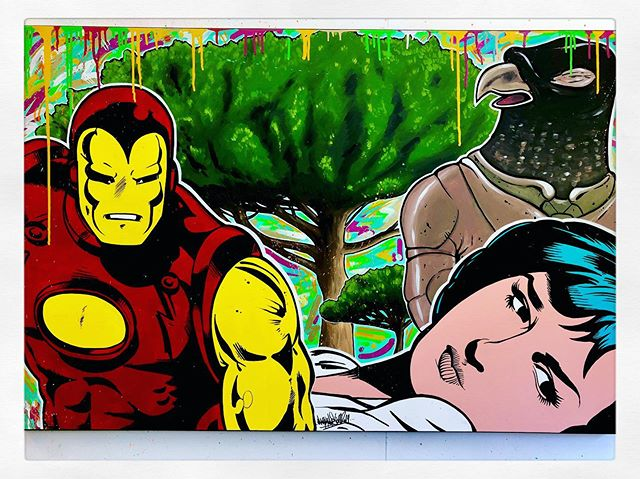💥Latest commission finished and delivered💥 Info@markmestre.com  for any inquiries about existing paintings or custom commissions! • #art #illustration #painting #custom #artwork #contemporaryart #marvel #avengers #charlesburns #enkibilal #trees #comics #bd #ironman #popart #graffiti