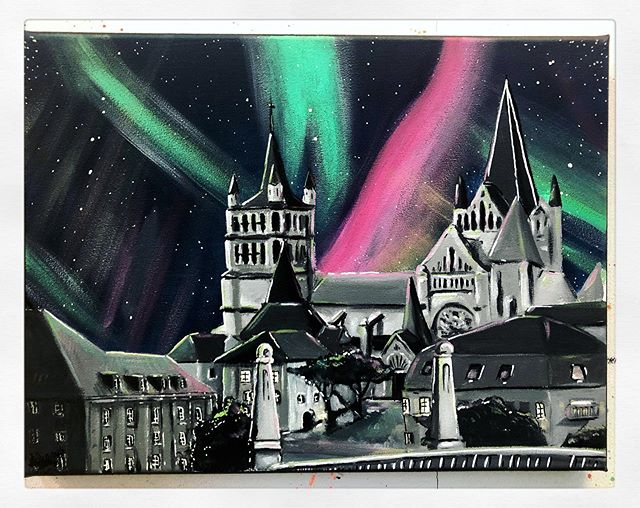 Latest commission done and delivered. ⛪️ • #art #illustration #painting #sketch #artwork #lausanne #cathedrale #auroresboreales #lutry #switzerland #landscape