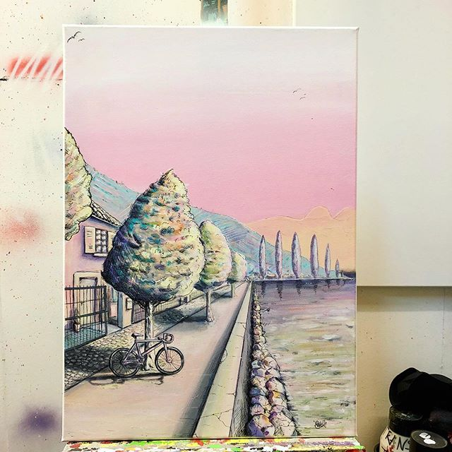 Latest commission finished and delivered! 🙏 Happy Friday folks! • #art #illustration #painting #view #pastel #colors #contemporaryart #landscape #lutry #switzerland #lake #lavaux #bike #leman