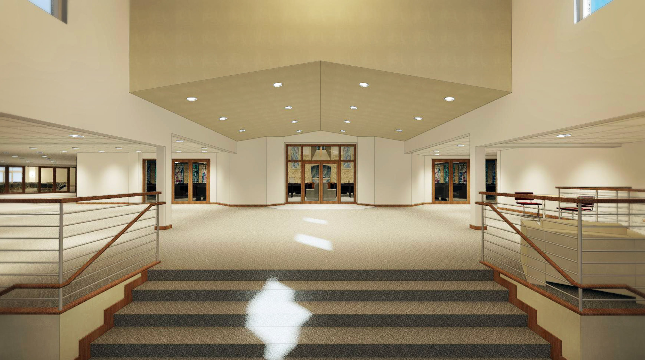 Expanded Narthex with more space for fellowship and community. Windows will allow better viewing into the Sanctuary. Doors to new parish hall visible on far left of image.
