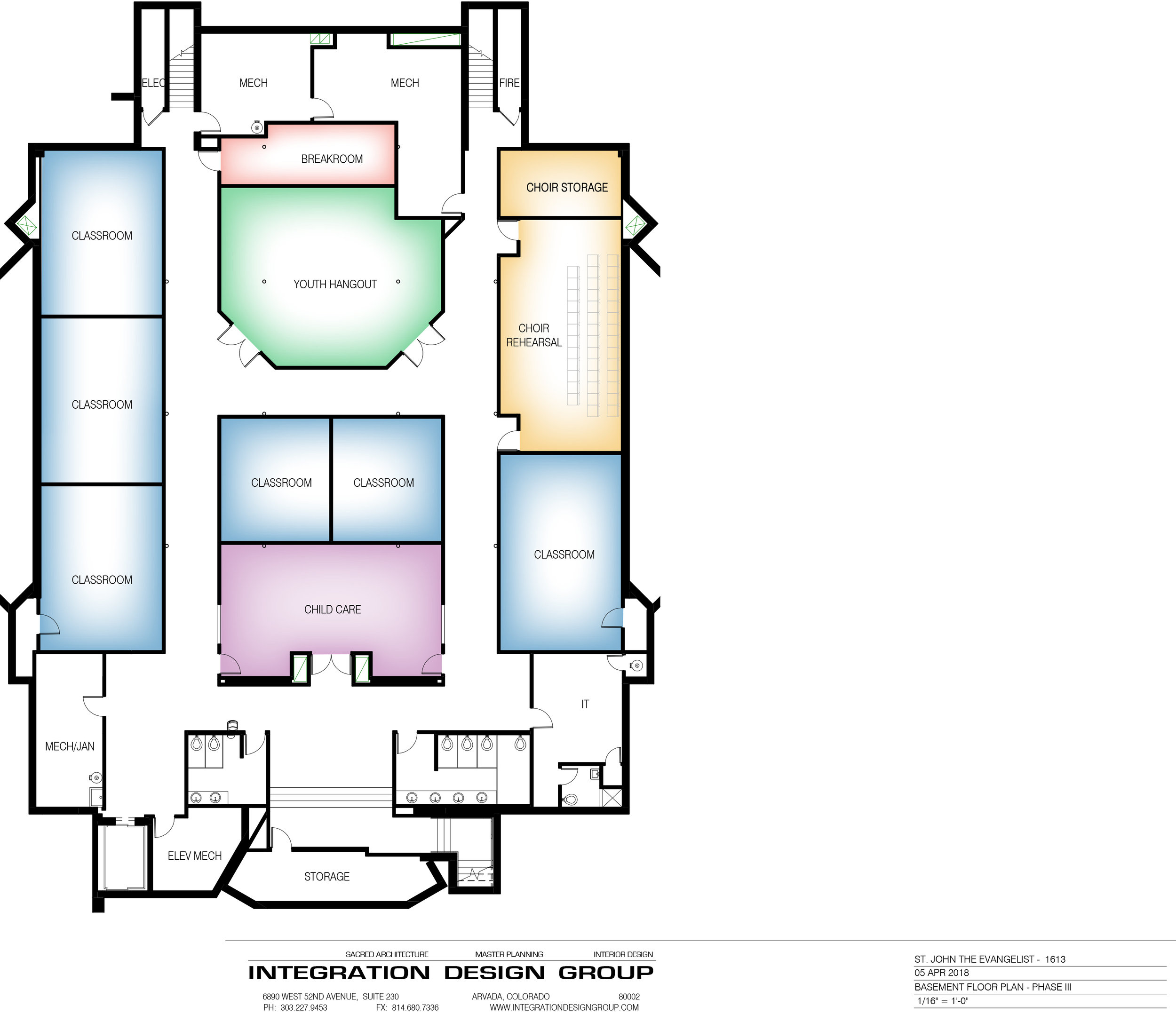 Proposed Church Basement with large youth space, additional meeting rooms, dedicated nursery/childcare area, and choir rehearsal space.