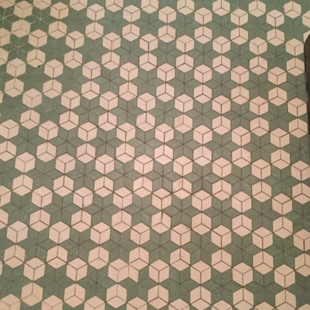 original floor tile in terrace powder room