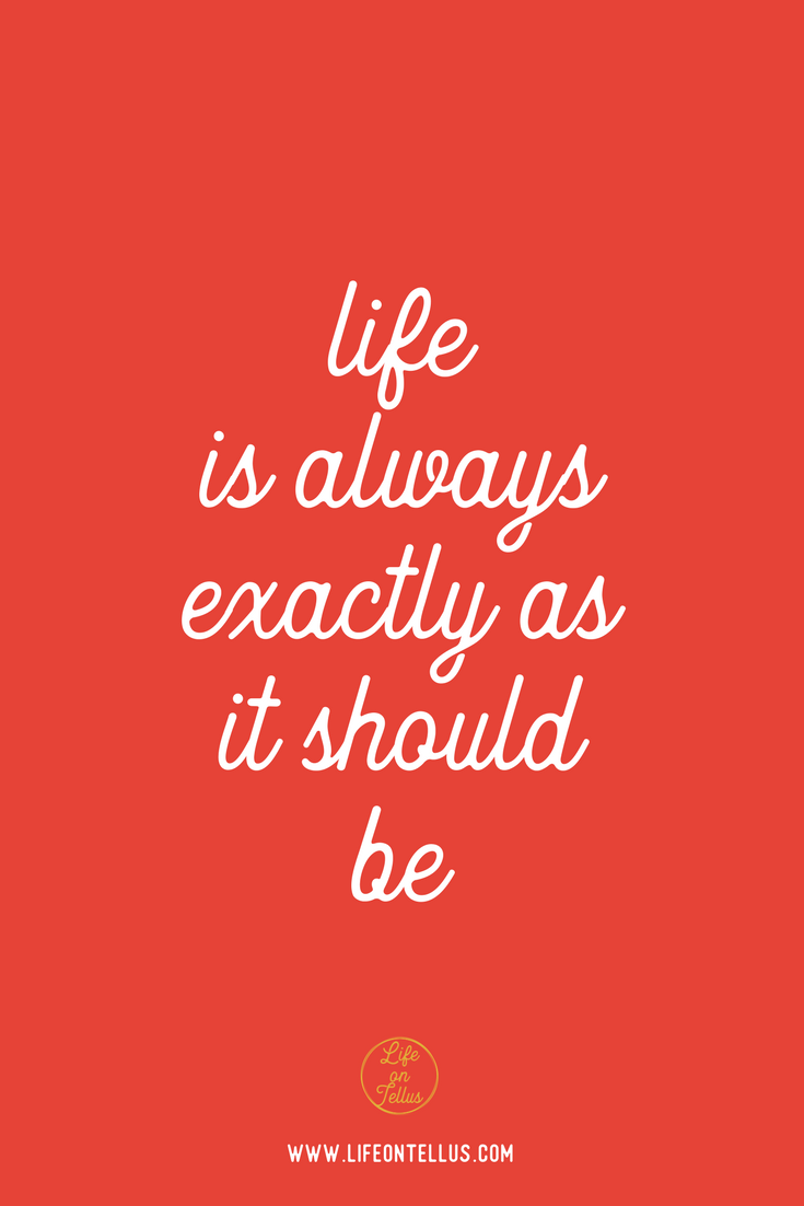 life is exactly as it should be