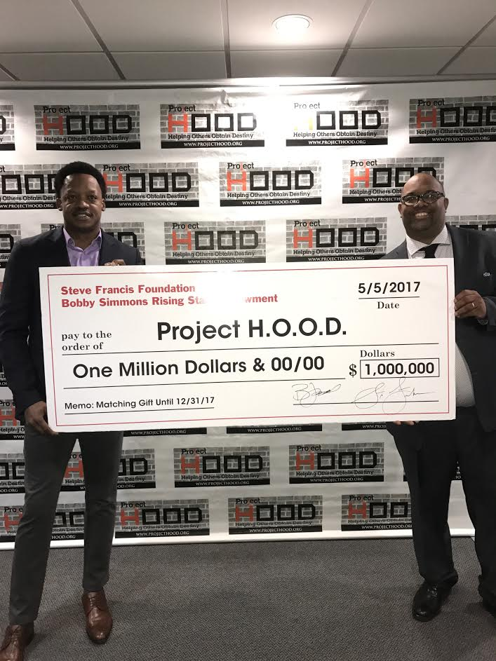 Former NBA Player Steve Francis presents $1million matching gift in partnership with Former NBA Player Bobby Simmons to Project H.O.O.D.