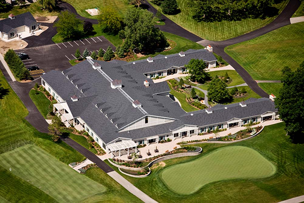 Aerial view of Harvest Lodge at Rich Harvest Farms
