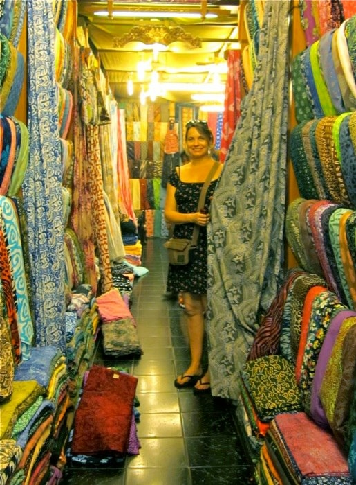 Jill shopping for batik fabric