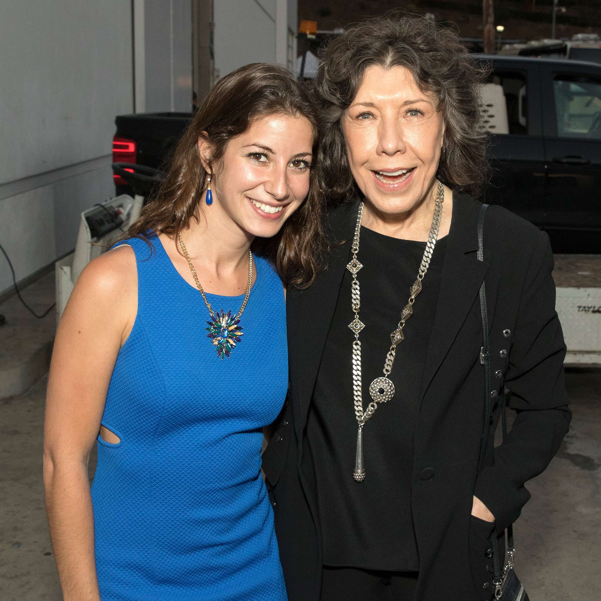 Sawyer with Grace and Frankie star, Lily Tomlin at Dolly Parton's show at the Hollywood Bowl