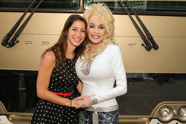 Sawyer with Dolly Parton after performances for television networks in New York City
