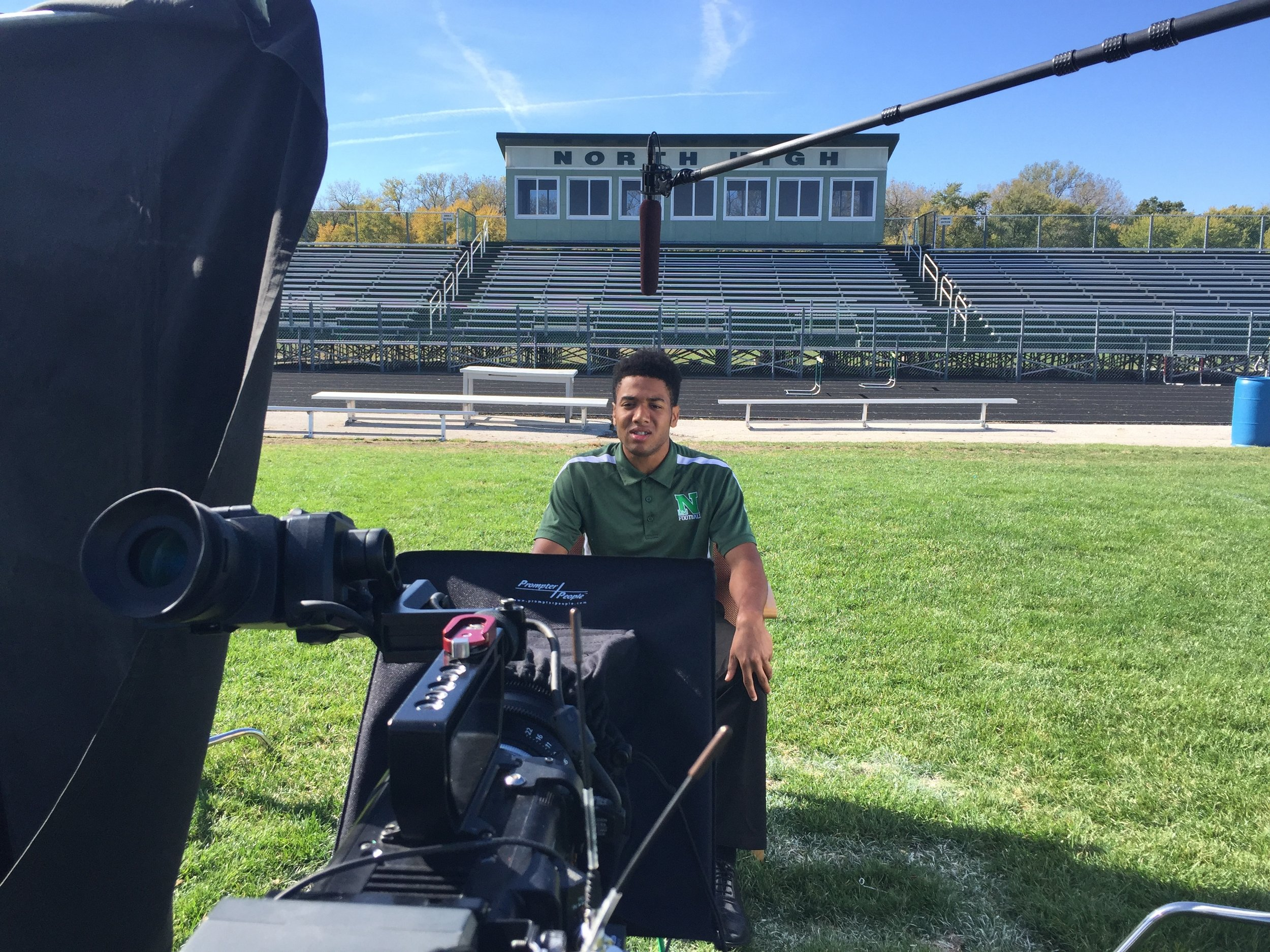 Interview set up for ESPN's Football Forever Documentary.