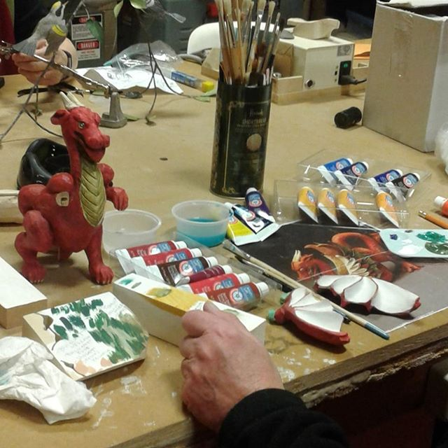 Margot and her dragon.  #woodcarvers #woodcarversandsculptors #AGBlife #ArtsBurl #artsburlington