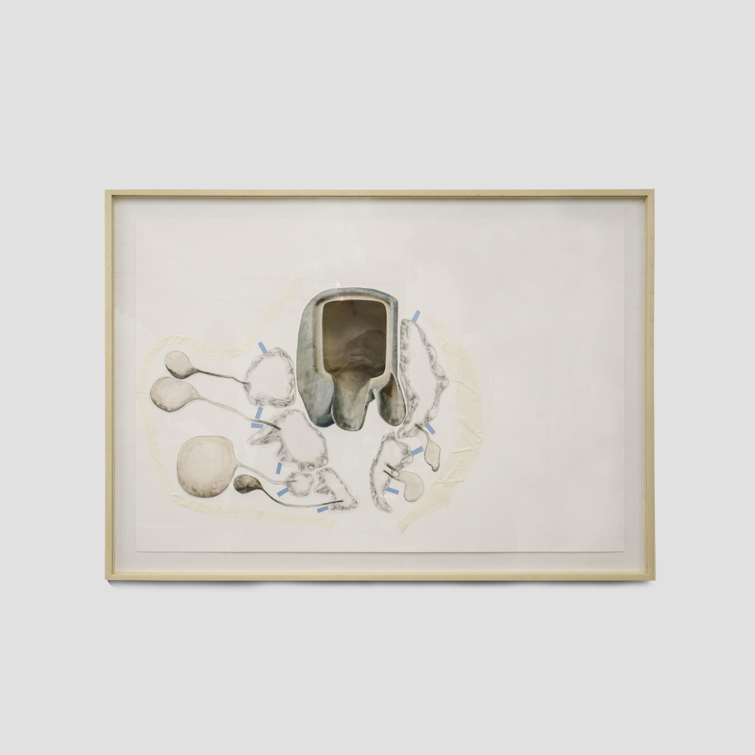 toda palavra tem uma gruta dentro de si #4,  2016  impressao sobre papel de algodão, grafite, marcador, fita adesiva, fita dupla face e papel vegetal  66 x 96 cm