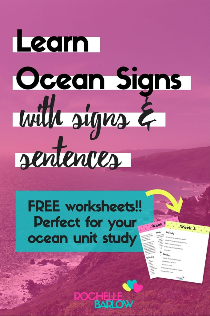 You can't study the ocean without learning ocean signs! At least, not in our home. Learn ocean signs & sentences to go with each sign + free worksheets! Pin to save!