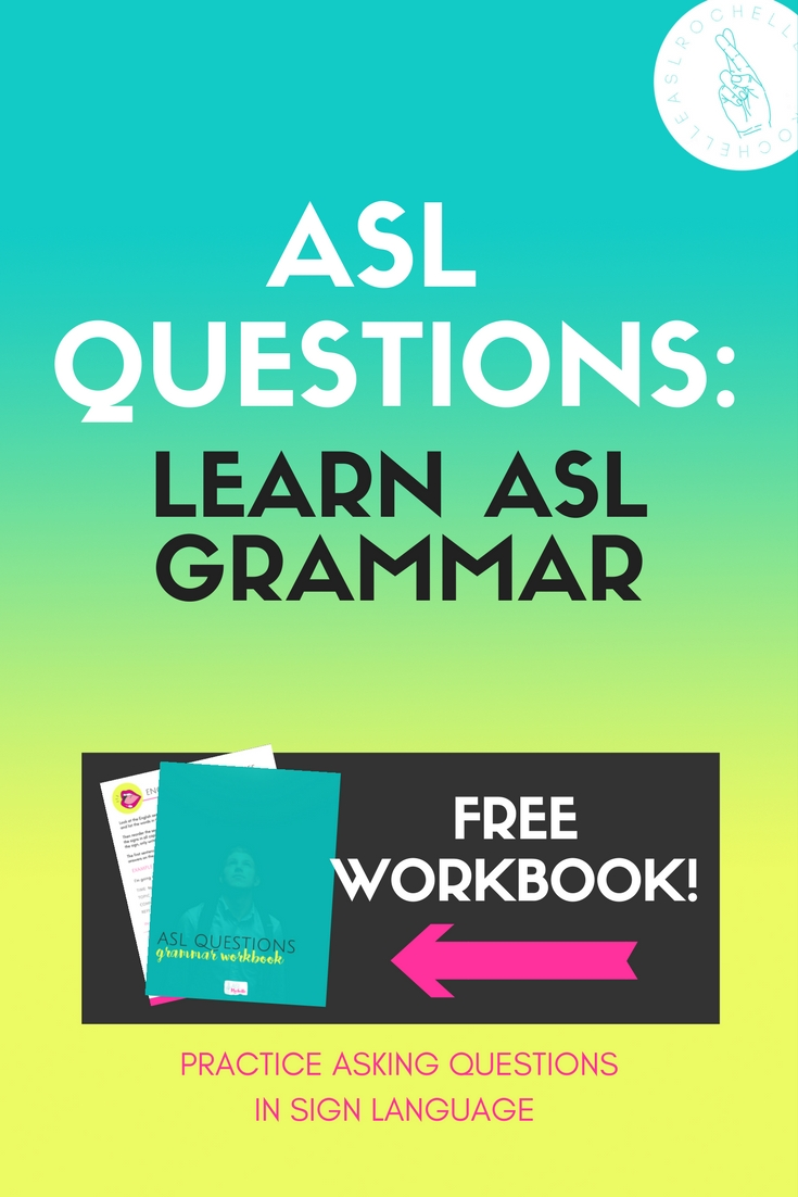 Wanting to learn how to sign questions in ASL? Watch the video to find out how to sign ASL questions, see plenty of examples of WH questions and Yes/No questions, and get the free workbook to practice different sentences on your own. Super helpful and super awesome!