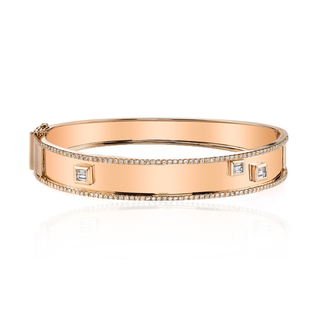 18k rose gold bangle bracelet with baguette and pave diamonds.jpg