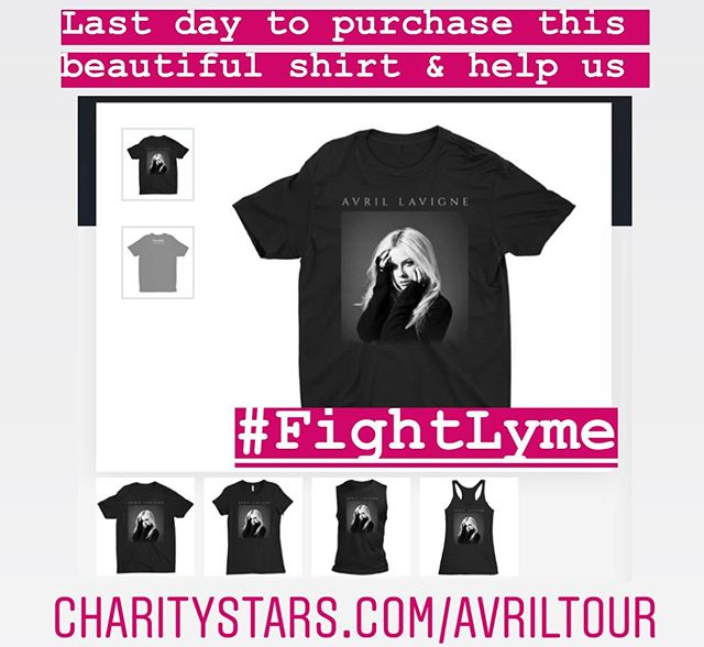 Want to win a pair of Avril's personal VIP seats to the show if your choice this fall? LAST CHANCE to get this beautiful t-shirt, help individuals affected by #LymeDisease and be automatically entered to win. Thank you for your support of #TheAvrilLavigneFoundation💚 CharityStars.com/AvrilTour to get your shirt before they're gone. #LymeIsReal #FightLyme