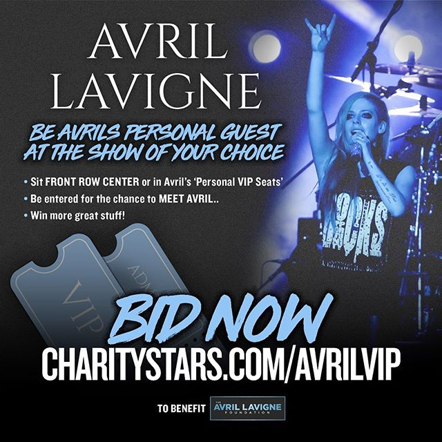 Wanna be my special guest on the #HeadAboveWater tour this fall? Details at www.CharityStars.com/AvrilVIP. All proceeds help @TheAvrilLavigneFoundation #FightLyme. @AvrilLavigne @CharityStars