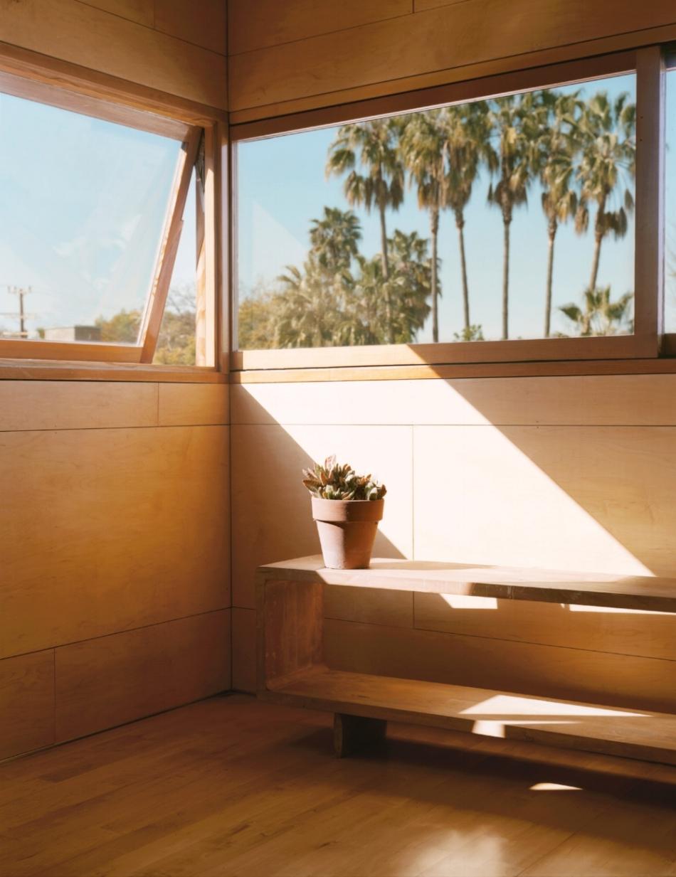 Window creates a cross breeze through the studio.