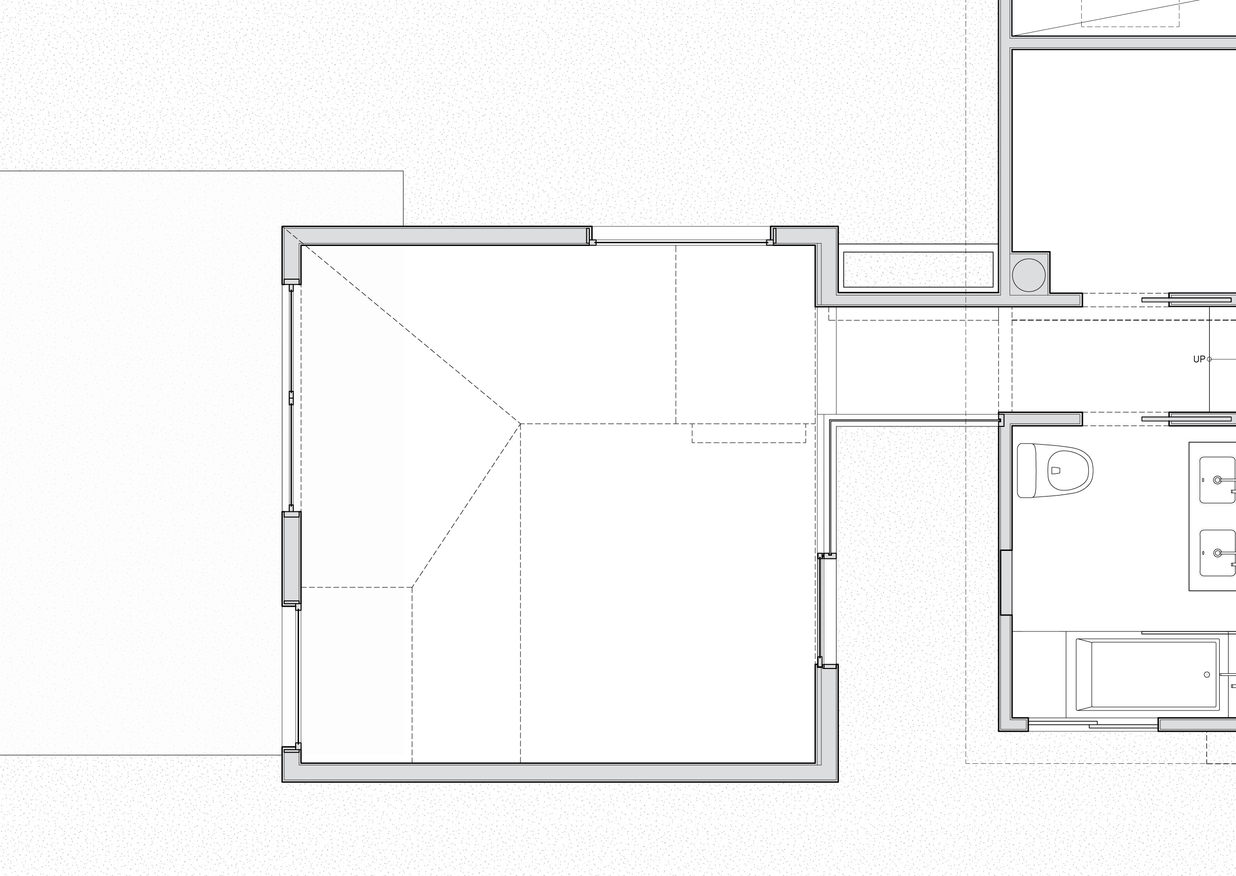 Plan showing the garden court that seperates the house from the addition.