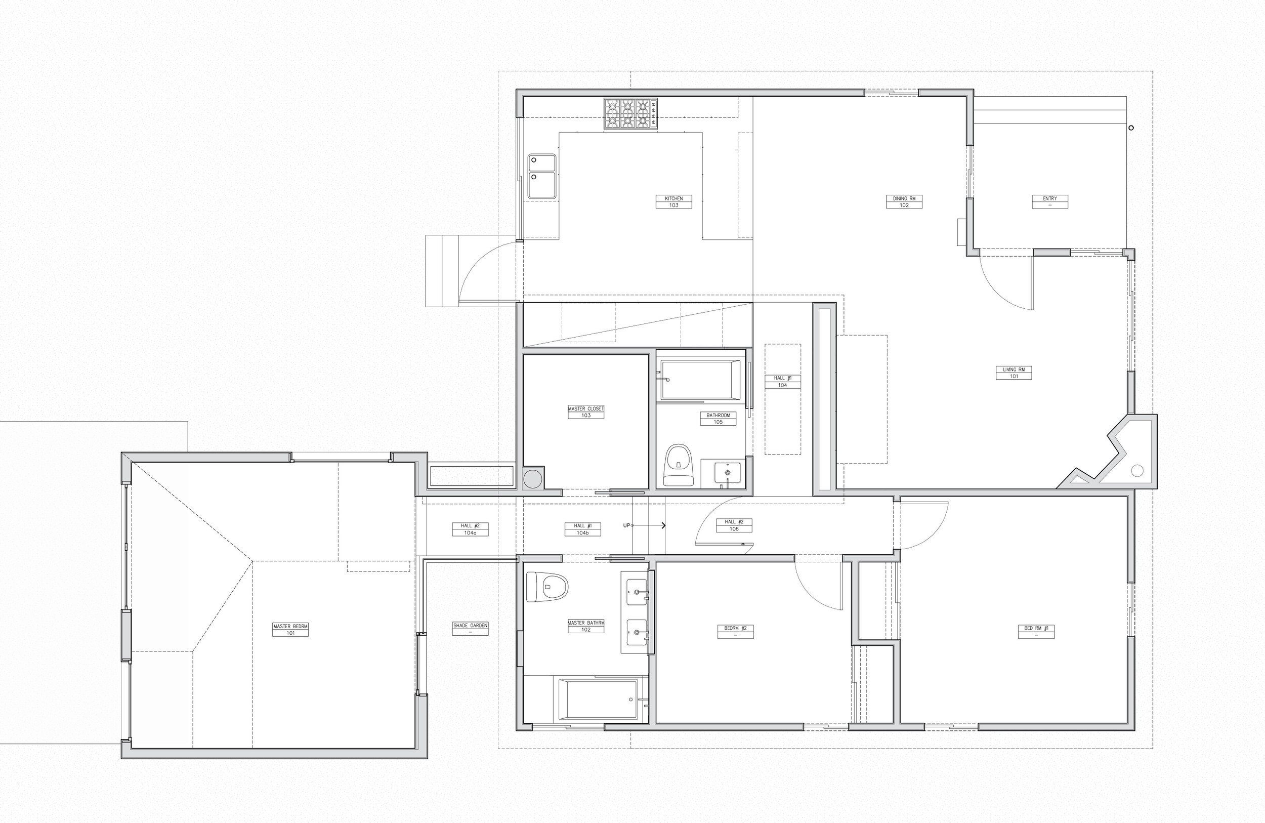 Plan showing the existing Shurkin residence (right) which was completed in phase I and the addition (left).
