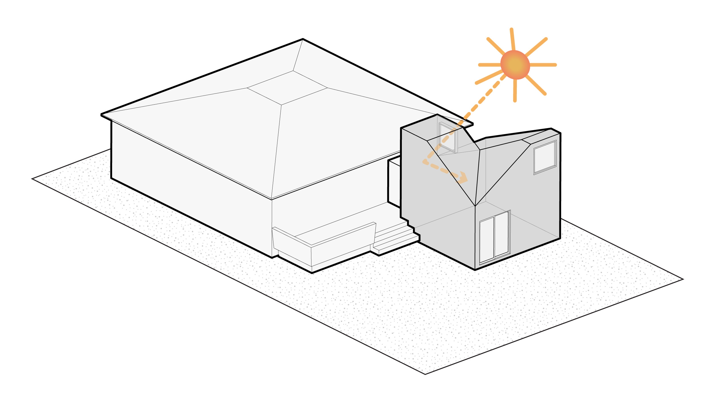 Step 3: A second west facing lightwell catches evening light and bounces it into the room.