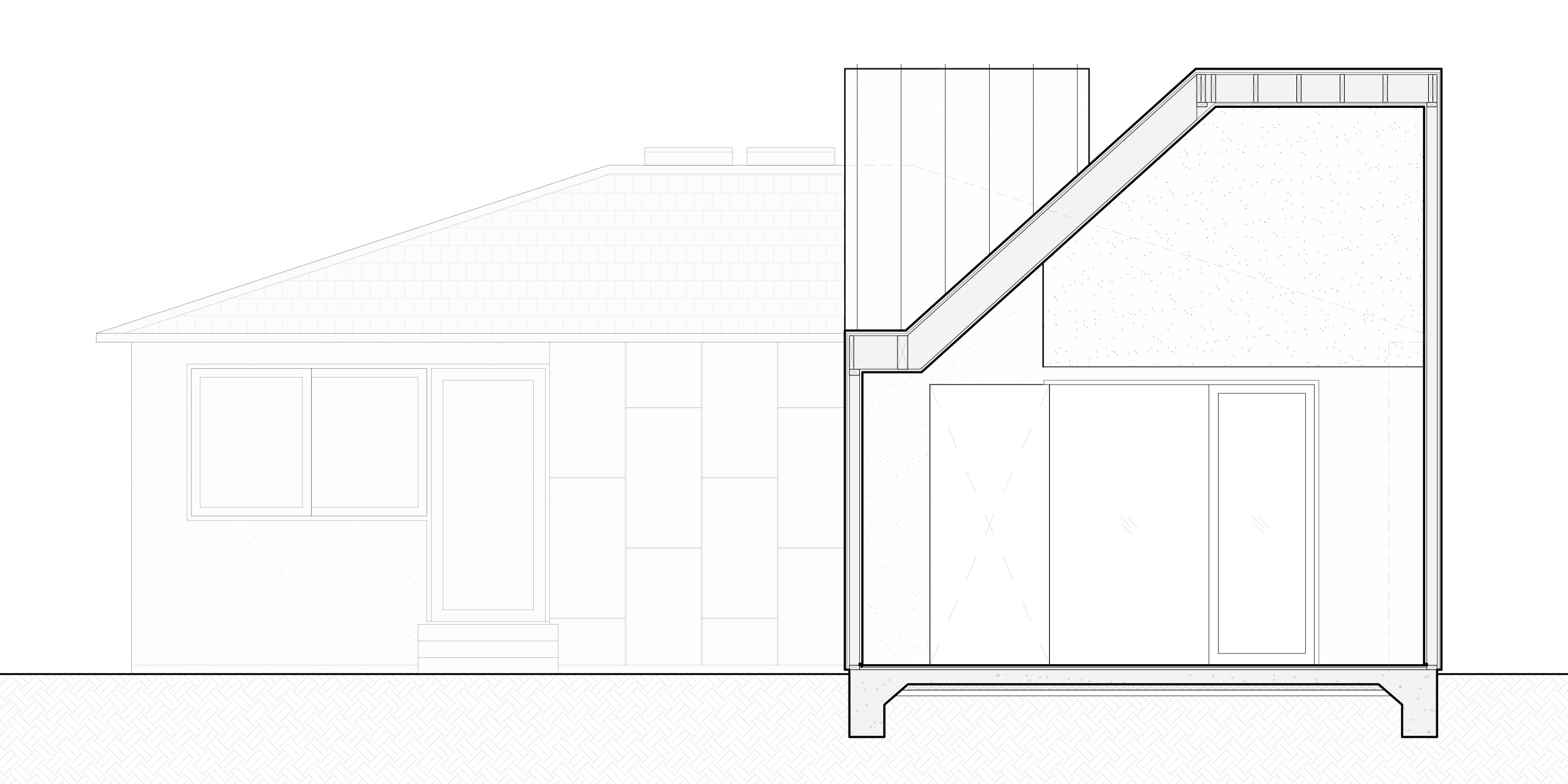 Section through addition looking towards the existing house