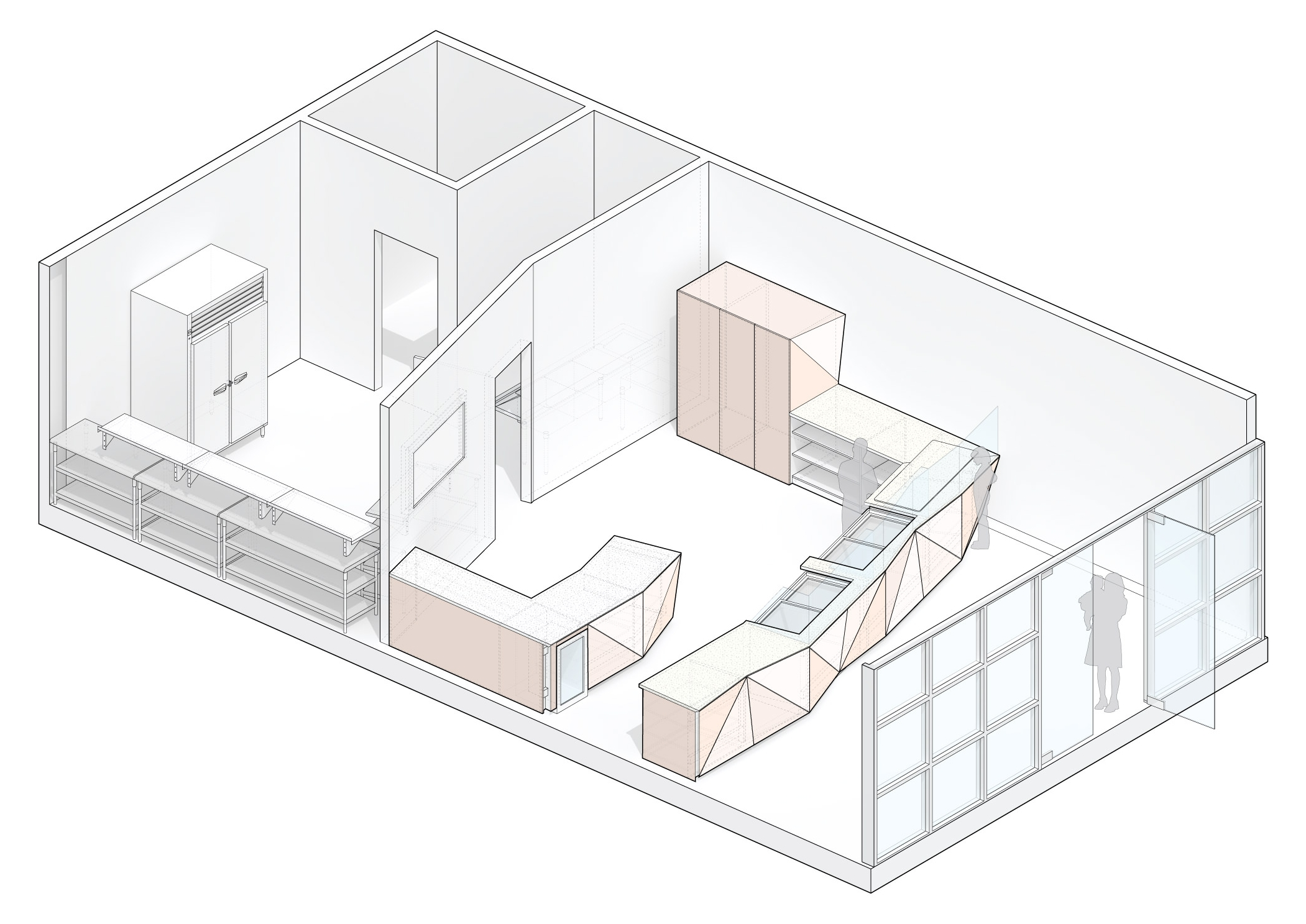 Isometric drawing showing the service counter and the prep kitchen in the back.