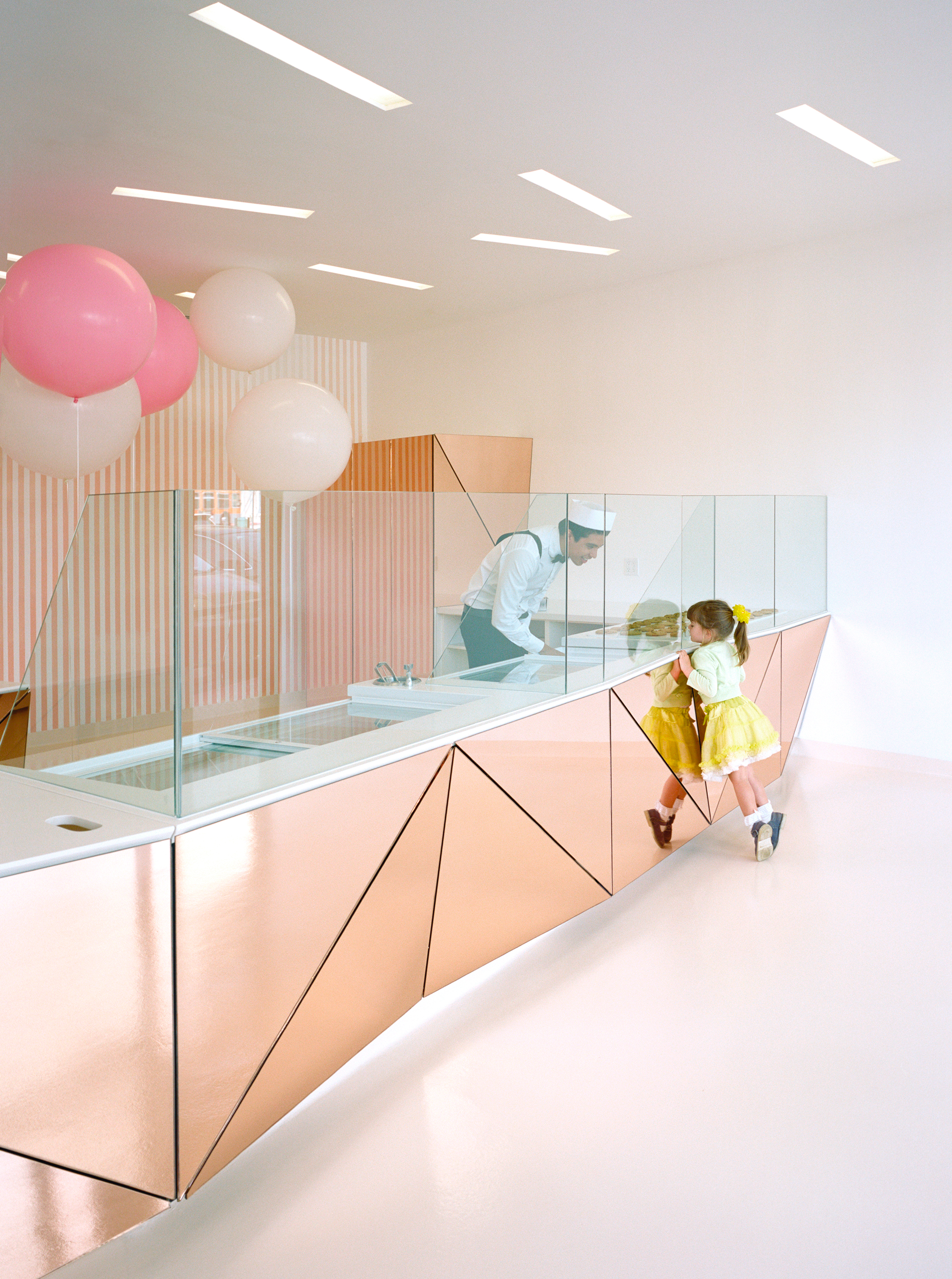 View of the mirror clad ice cream counter.