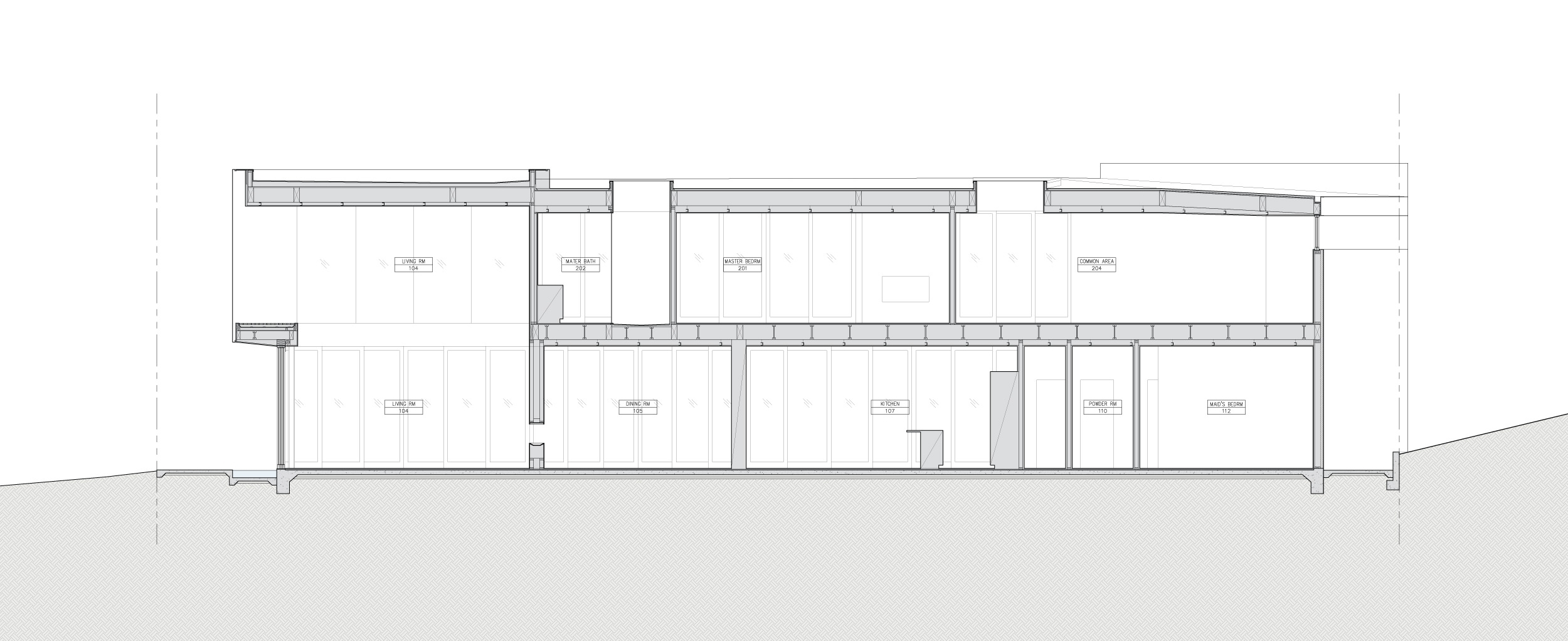 Section through double height living room.