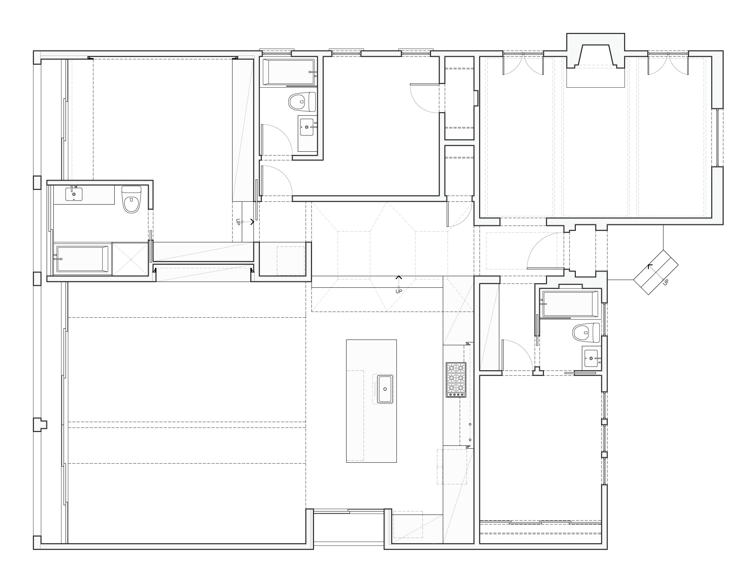 Proposed plan showing the kitchen and living room that opens to the rear yard and pool.