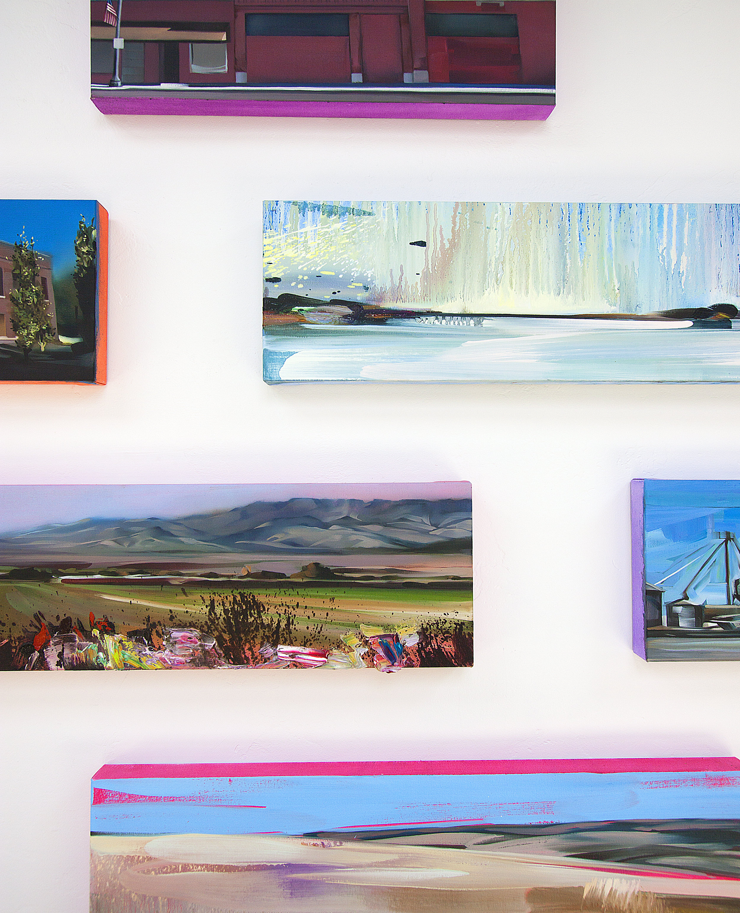 Paintings by Rebecca Campbell that show the under painting technique that inspired the Façade- notice how the color on the sides of the canvas creates a diaphanous glow.