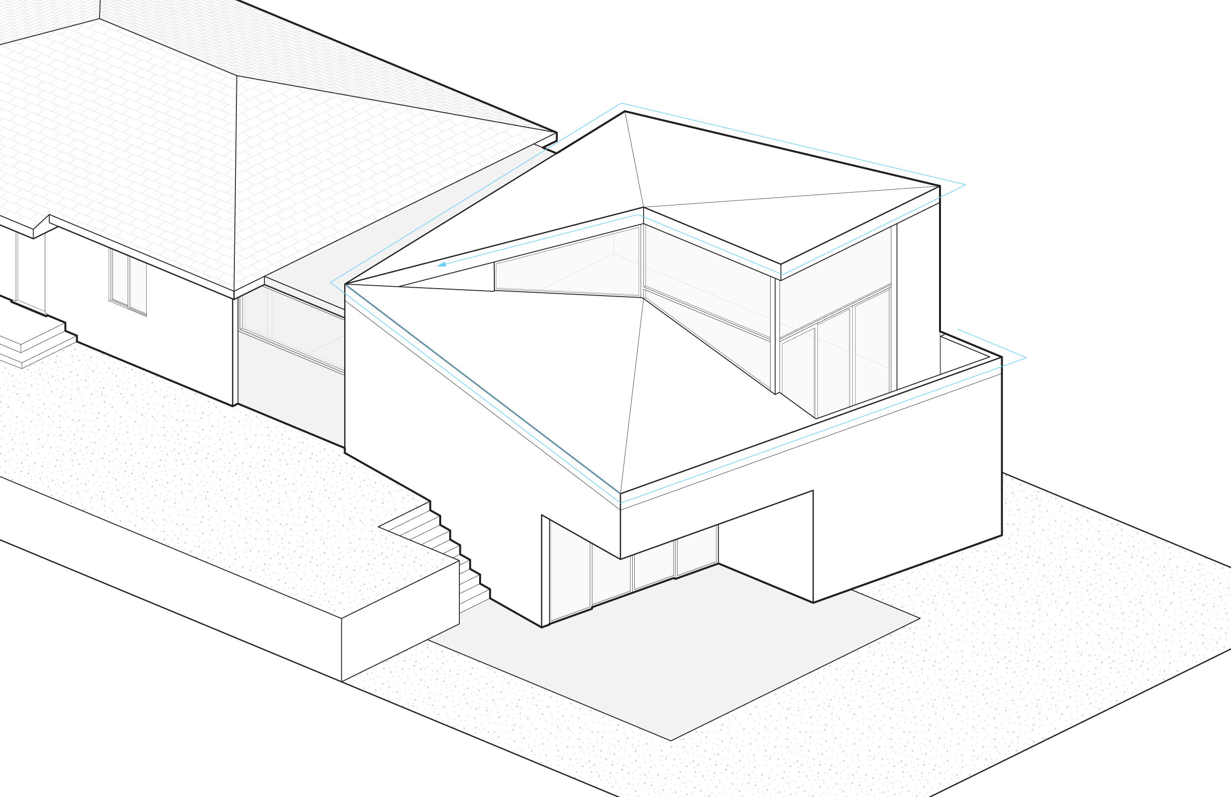7. Connect the addition to the existing house. The roof spirals up towards the master suite.
