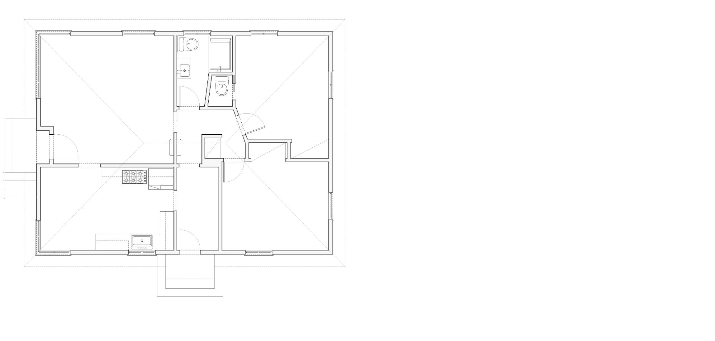 Plan of the existing 1940's bungalow.