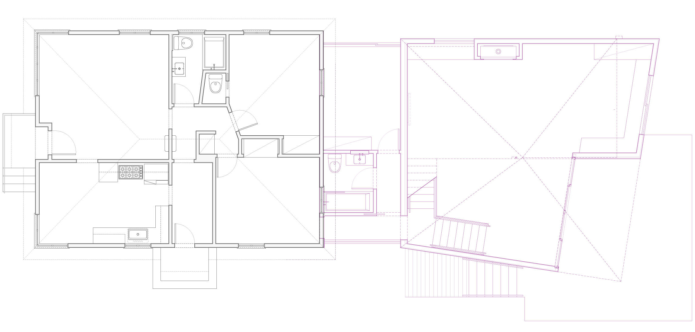 Plan of existing house with the addition in magenta.