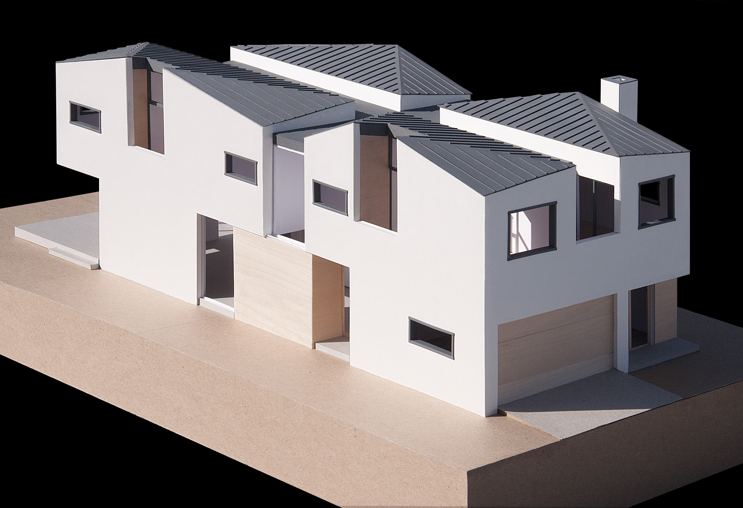 Aerial view showing the flat roof that divides the house into four quadrants - each with uniquely vaulted ceiling.