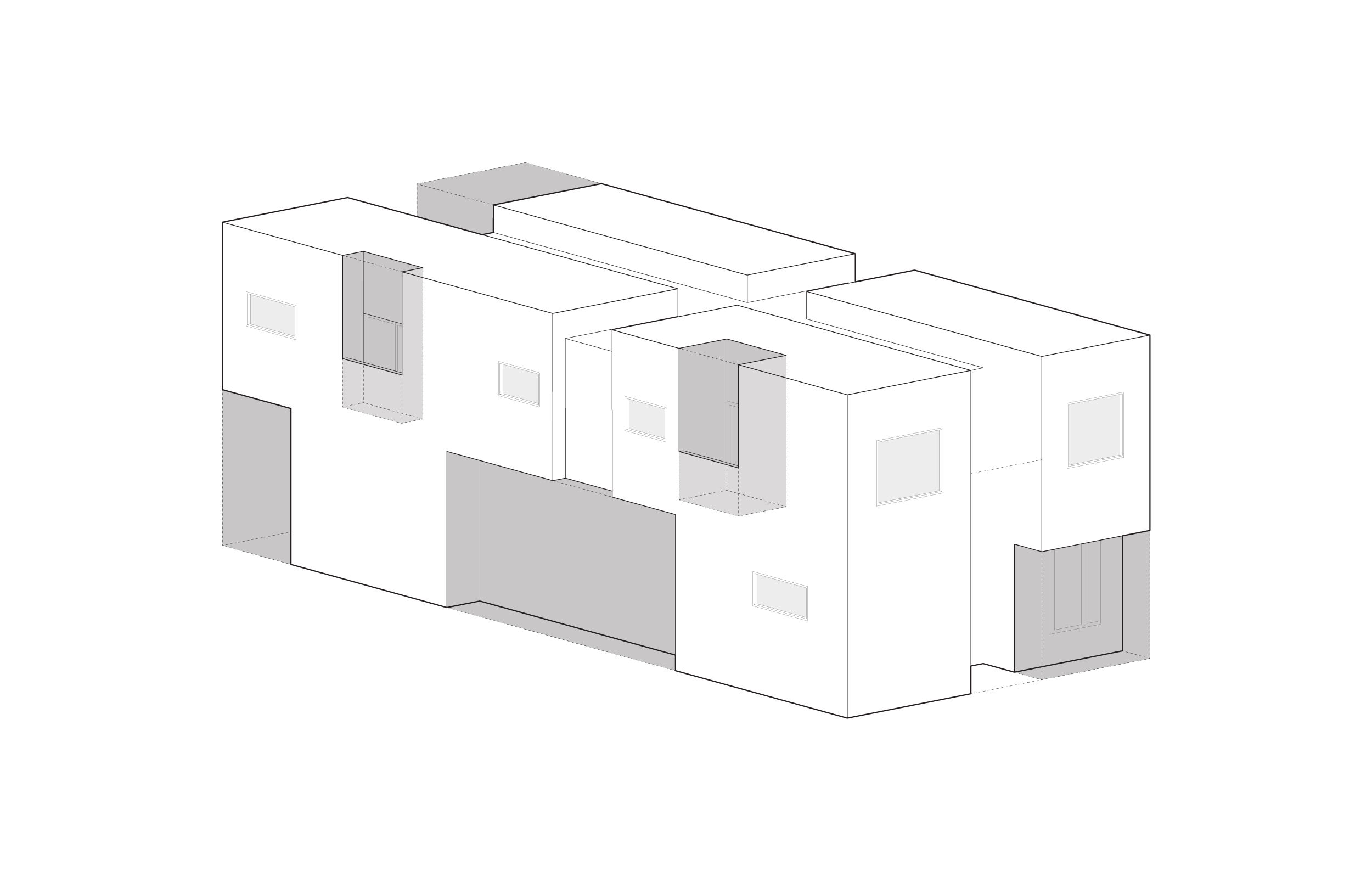 Balconies where subtracted from each of the quadrants to give the bedrooms private outdoor spaces. The larger subtraction on the ground floor marks the front door.